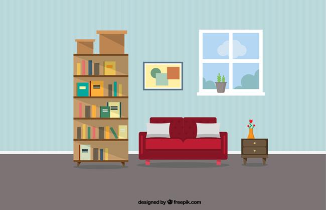 简单大气扁平客厅场景设计矢量素材 沙发  书柜  书架  室内扁平化