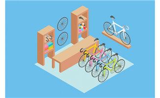 自行车购物店的货物场景