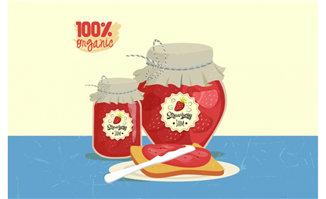 草莓酱与面包组合的美食