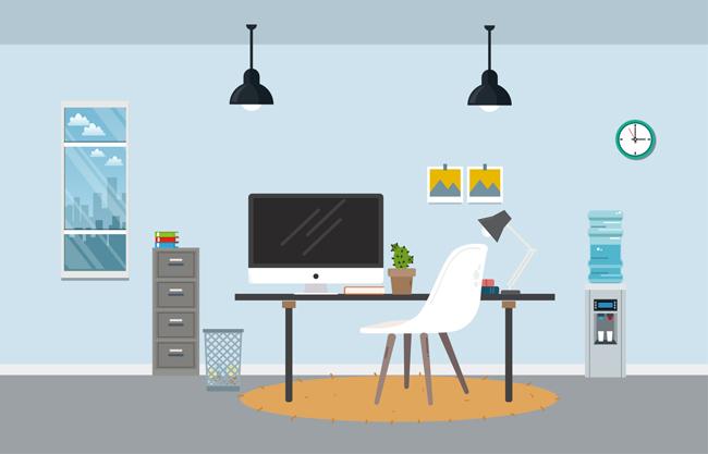 简易化扁平化手绘矢量办公桌场景设计