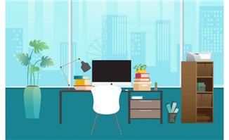 扁平化办公桌摆设场景设计矢量素材