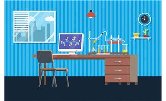 桌子上化学仪器实验场景设计素材