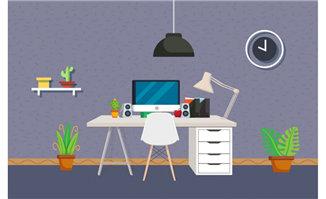 <b>办公桌简单扁平化场景设计矢量素材</b>