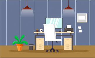 吊灯下的现代扁平化办公电脑桌场景设计