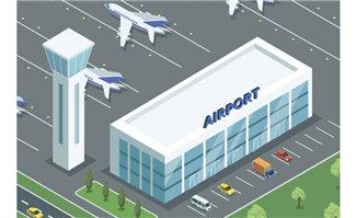 机场国际出发场景矢量插