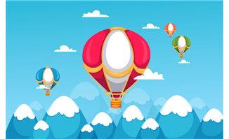蓝色热气球飞行的背景设