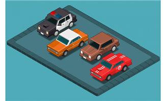 停车场的各种小轿车造型
