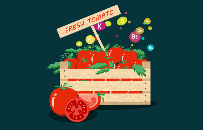 手绘扁平化西红柿美食背景设计素材 健康蔬菜维生素矢量背景