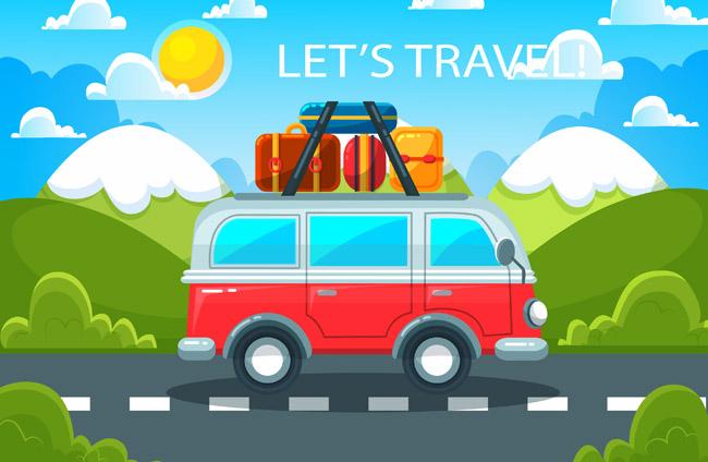 自驾游创意手绘背景设计素材下载 旅游轮私家车图图片  红色大巴车