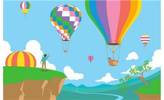 扁平氢气球创意背景设计