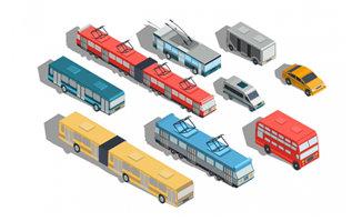 各种电车公交运输车辆造