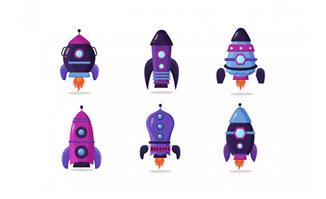 6款宇宙飞船图标造型设计