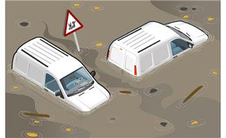 水灾后车辆场景矢量素材