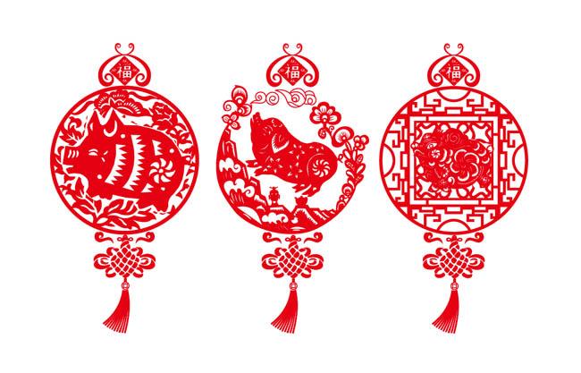 红色剪纸猪年大吉图案设计矢量素材