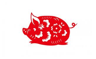 卡通动漫猪剪纸造型设计素材