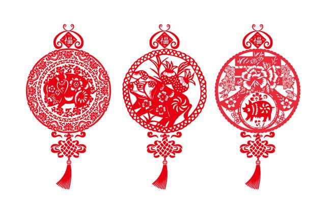 红色剪纸猪年2019年新年快乐图案设计 猪年动物猪形象窗花挂件矢量