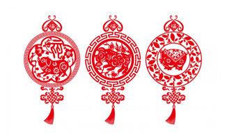 红色剪纸猪年大吉图案造型设计素材