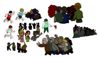 flash动画围观各种人群场景设计素材