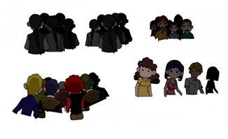 男女老少围观的人群二维动画场景设计素材