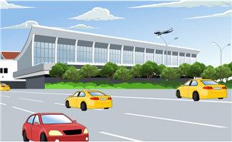 飞机场的飞机飞行及车辆行驶的效果场景