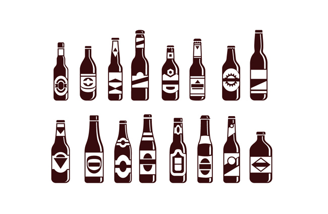 酒瓶设计图矢量  矢量扁平化造型的酒瓶造型设计矢量素材