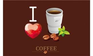 咖啡豆桃心组合的海报背