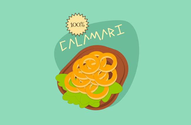 扁平化美食海报背景设计素材 美食设计矢量素材  手绘卡通动漫美食
