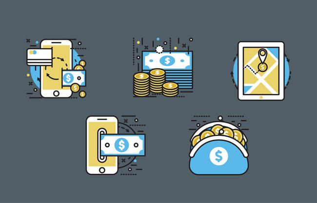 金融购物系统图标矢量素材下载 互联网金钱生活设计  扁平化金币