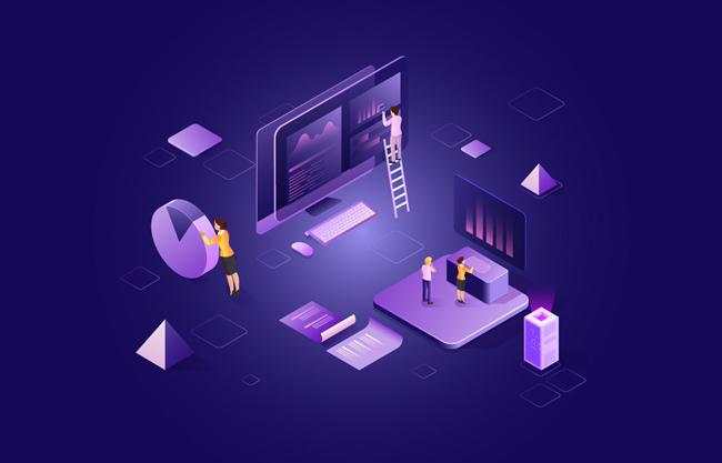 金融办公科技感矢量图   未来工作生活科技感场景矢量素材   办公小