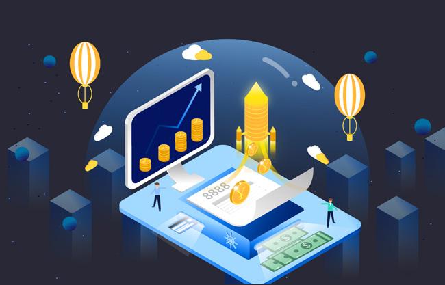 5d现代金融科技插画矢量素材    金融理财元素科技场景矢量图   金币