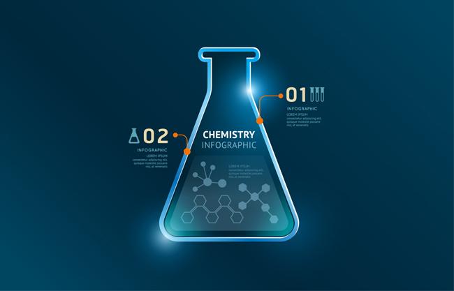 蓝色化学试管信息图表图片矢量图
