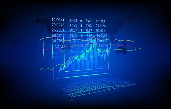 蓝色技术荧光财务图表背景矢量图