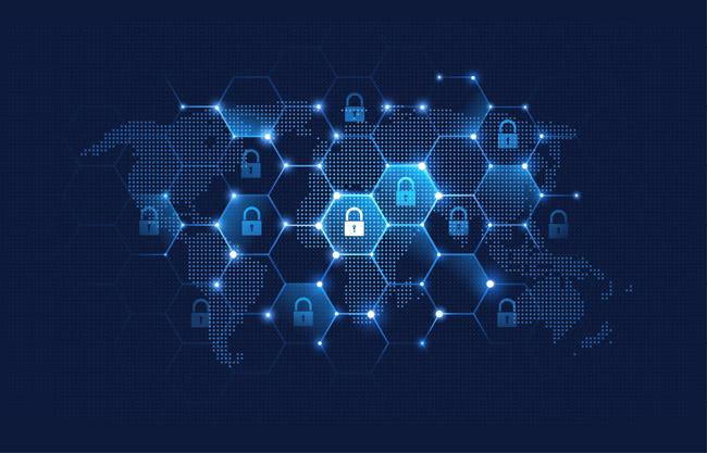 网络科技背景矢量素材   蓝色背景世界地图科技矢量图    全球安全