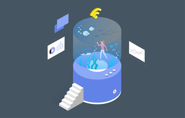 智能海底世界元素设计矢量图