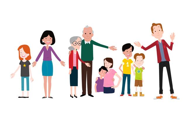 少年青年老年人合集卡通人物形象设计矢量素材   彩色的家庭人物图片