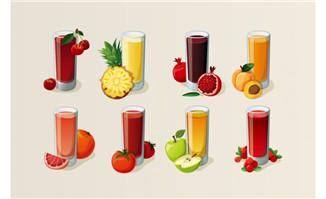 8组水果果汁饮料食物元素