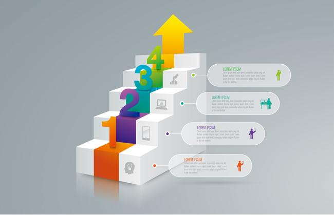 楼梯元素商业图表创意设计矢量素材矢量图