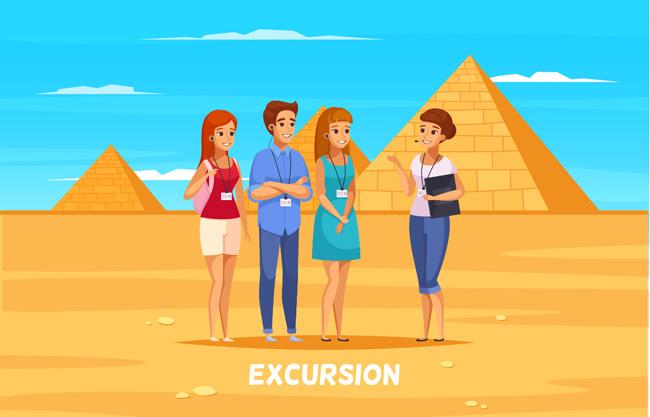 中青年导游卡通人物设计矢量图    参观金字塔矢量素材    金字塔