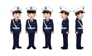 卡通动漫多视图警察叔叔