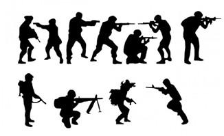 军人动漫插画剪影元素设计素材