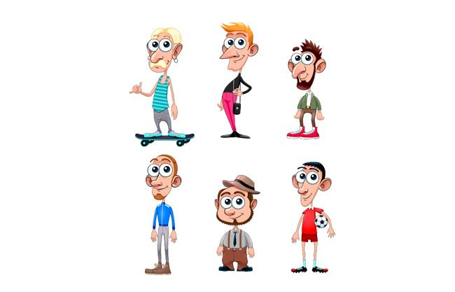 夸张卡通人物设计矢量素材   大眼睛的家庭人物矢量素材   大鼻子
