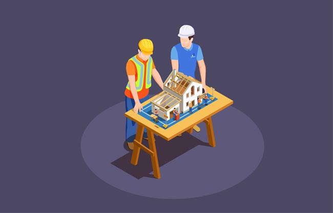 房屋建造师矢量图    房屋建造工作场景矢量素材