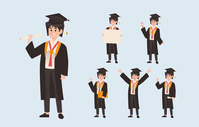 学士服卡通男子矢量图    卡通毕业学生设计元素   卡通学士服各种