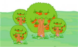 红色果树元素场景设计