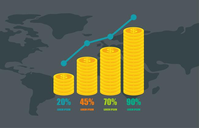 上升金币信息图表图片矢量图