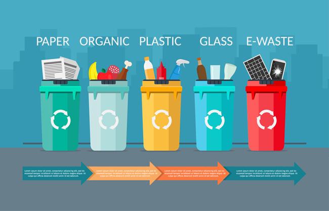 矢量工具回收桶素材图片矢量图  五个 彩色 垃圾桶  组合  组成的