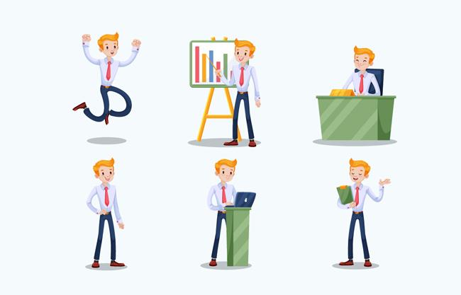 卡通商务人员设计矢量图  扁平化卡通男士工作元素矢量素材