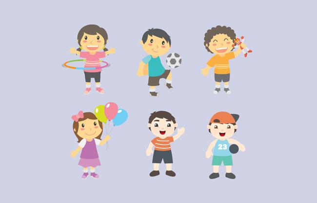 卡通小清新儿童矢量素材  漂亮可爱运动卡通儿童小孩设计矢量素材图片