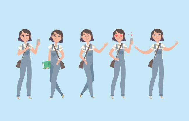 开学季卡通学生设计元素矢量图  扁平化卡通女生表情动作设计矢量