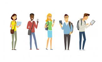 卡通青年男女看手机元素